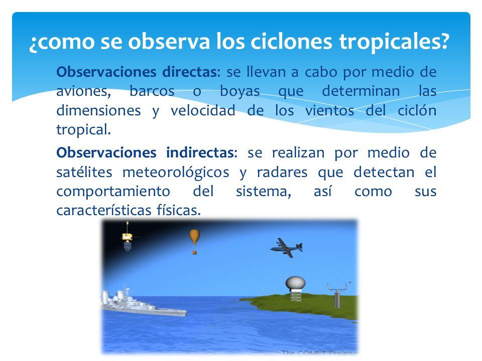 Observaciones directas: se llevan a cabo por medio de aviones, barcos o boyas que determinan las dimensiones y velocidad de los vientos del ciclón tro