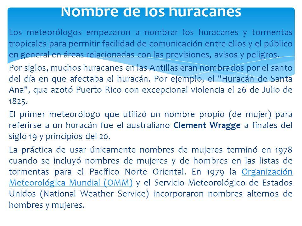 Los meteorólogos empezaron a nombrar los huracanes y tormentas tropicales para permitir facilidad de comunicación entre ellos y el público en general