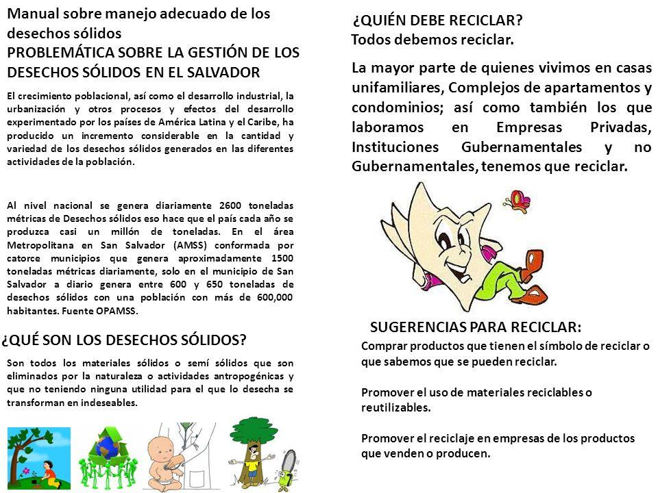 Manual sobre manejo adecuado de los desechos sólidos PROBLEMÁTICA SOBRE LA GESTIÓN DE LOS DESECHOS SÓLIDOS EN EL SALVADOR El crecimiento poblacional,