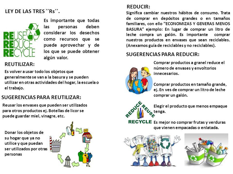 Es importante que todas las personas deben considerar los desechos como recursos que se puede aprovechar y de los que se puede obtener algún valor. LE