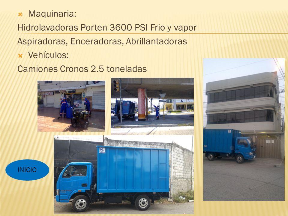 Maquinaria: Hidrolavadoras Porten 3600 PSI Frio y vapor Aspiradoras, Enceradoras, Abrillantadoras Vehículos: Camiones Cronos 2.5 toneladas INICIO