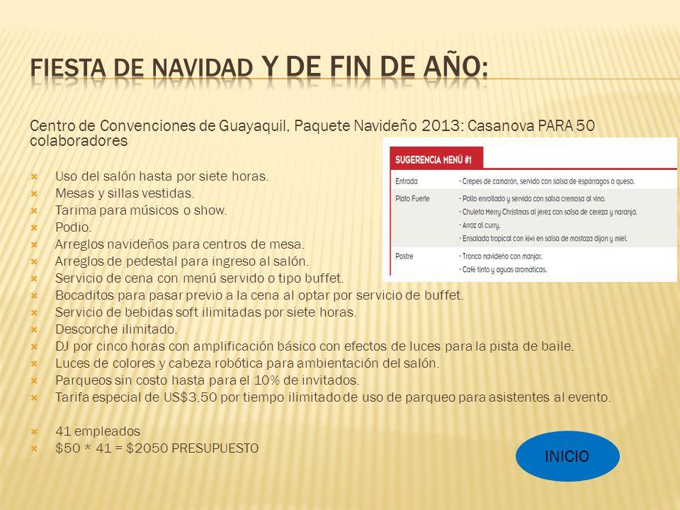 Centro de Convenciones de Guayaquil, Paquete Navideño 2013: Casanova PARA 50 colaboradores Uso del salón hasta por siete horas.