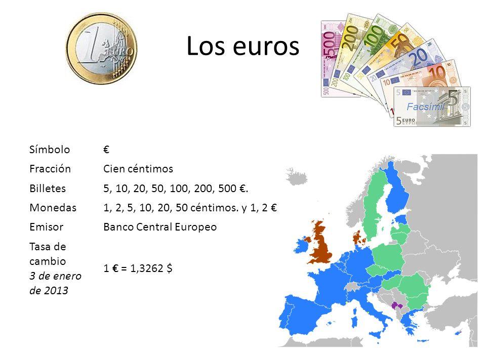 Los euros Símbolo FracciónCien céntimos Billetes5, 10, 20, 50, 100, 200, 500. Monedas1, 2, 5, 10, 20, 50 céntimos. y 1, 2 EmisorBanco Central Europeo