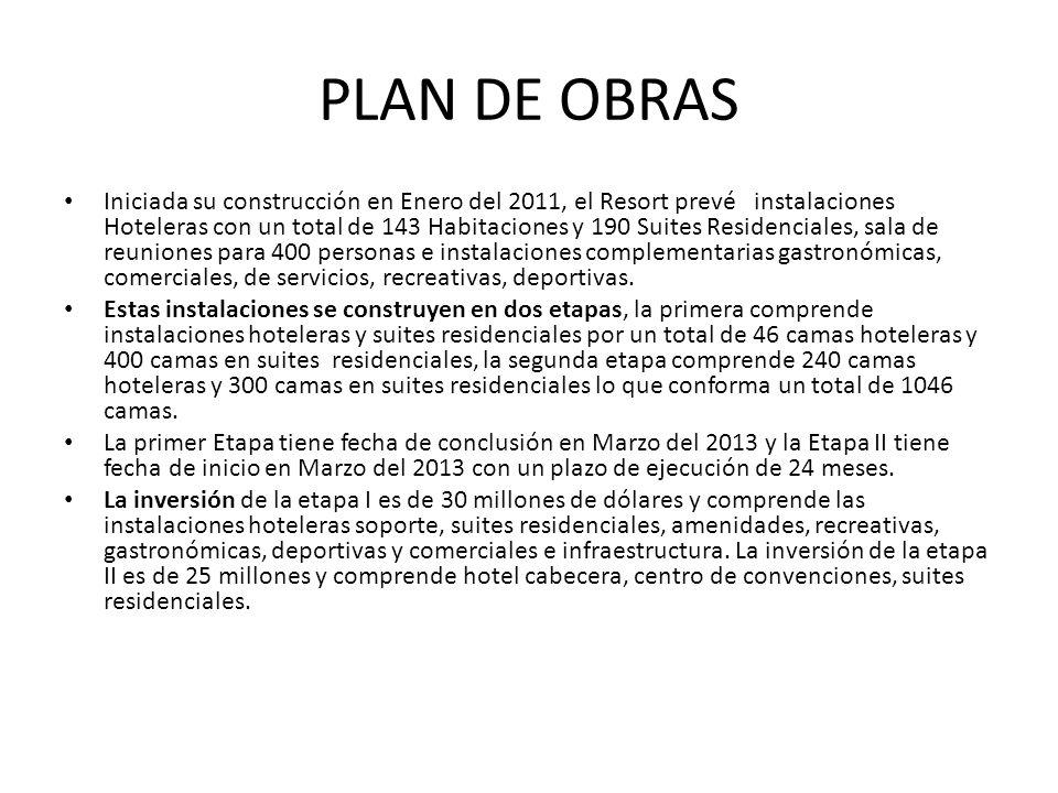 PLAN DE OBRAS Iniciada su construcción en Enero del 2011, el Resort prevé instalaciones Hoteleras con un total de 143 Habitaciones y 190 Suites Reside