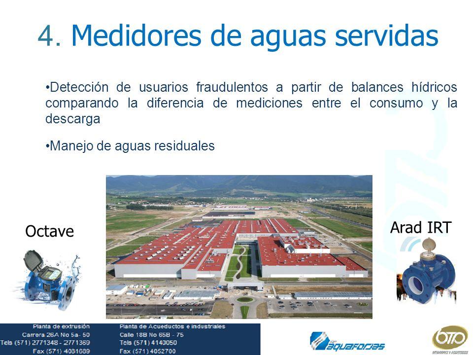 4. Medidores de aguas servidas Detección de usuarios fraudulentos a partir de balances hídricos comparando la diferencia de mediciones entre el consum