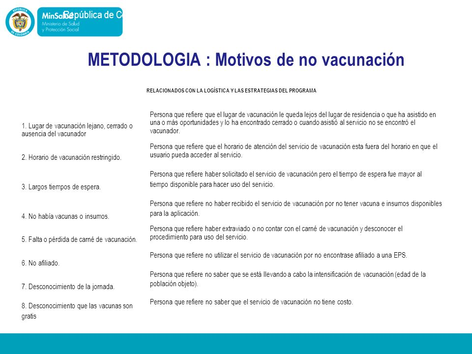 Ministerio de la Protección Social República de Colombia METODOLOGIA : Motivos de no vacunación RELACIONADOS CON LA LOGÍSTICA Y LAS ESTRATEGIAS DEL PR