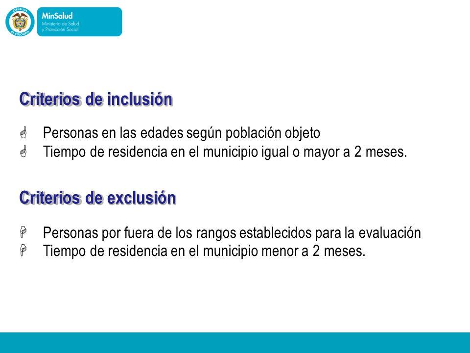 Ministerio de la Protección Social República de Colombia Criterios de inclusión Personas en las edades según población objeto Tiempo de residencia en