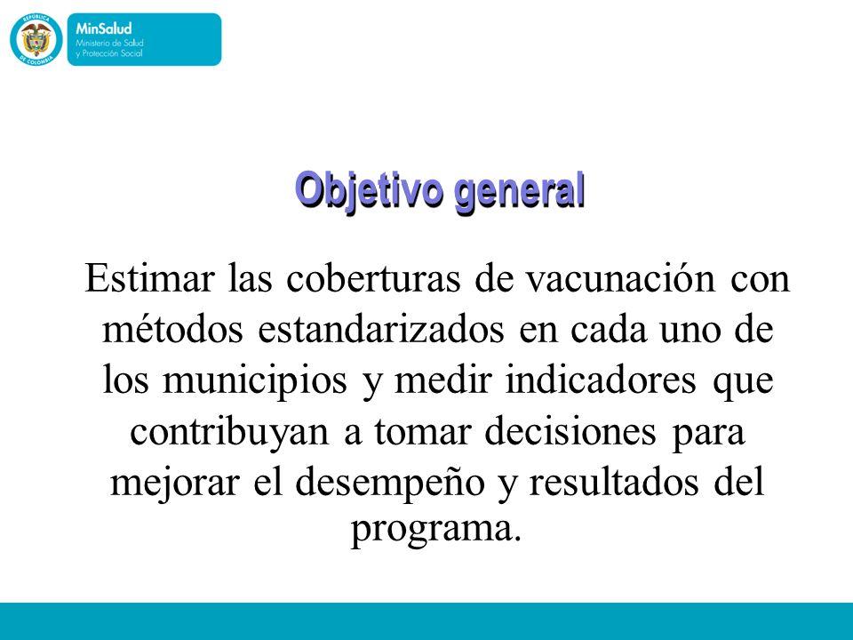 Ministerio de la Protección Social República de Colombia Objetivo general Estimar las coberturas de vacunación con métodos estandarizados en cada uno