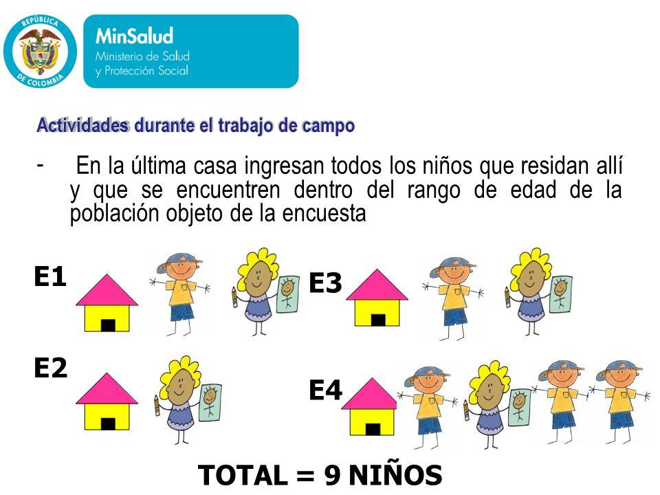 - - En la última casa ingresan todos los niños que residan allí y que se encuentren dentro del rango de edad de la población objeto de la encuesta Min