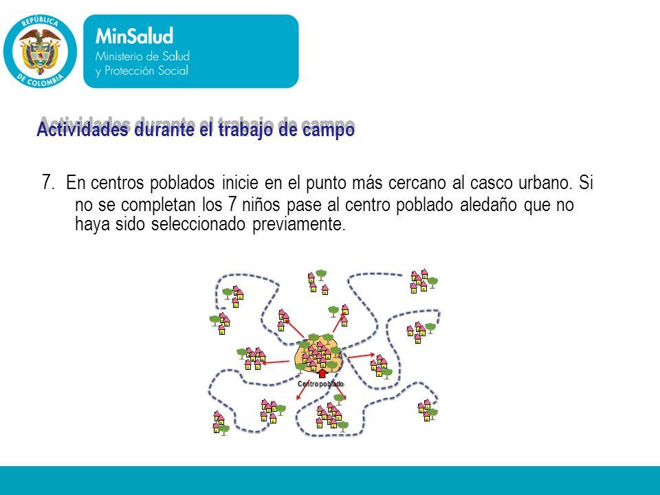 - Centropoblado Ministerio de la Protección Social República de Colombia Actividades durante el trabajo de campo 7. En centros poblados inicie en el p