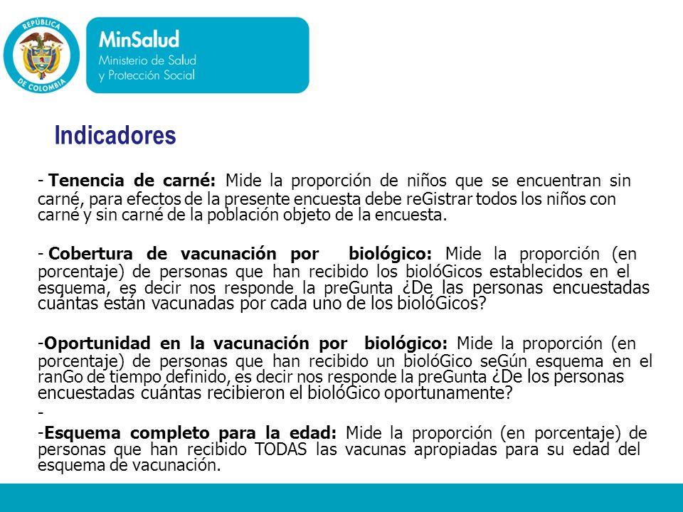 - Ministerio de la Protección Social República de Colombia Indicadores - Tenencia de carné: Mide la proporción de niños que se encuentran sin carné, p