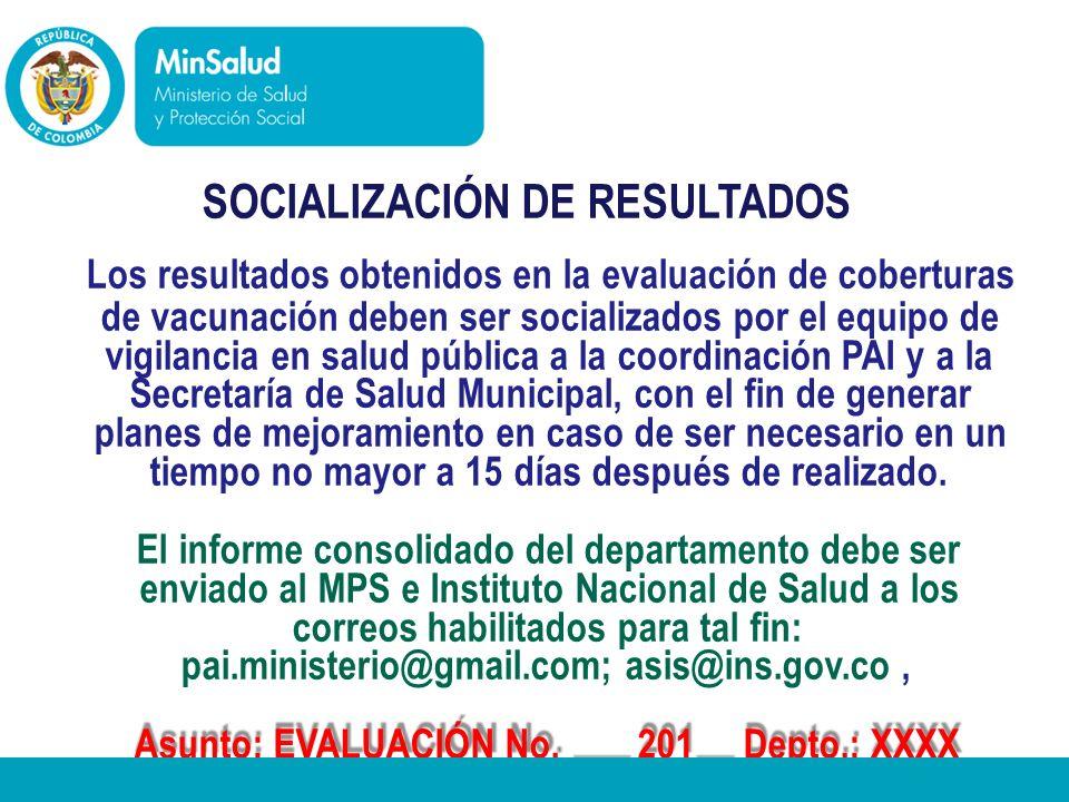 - Ministerio de la Protección Social República de Colombia SOCIALIZACIÓN DE RESULTADOS Los resultados obtenidos en la evaluación de coberturas de vacu
