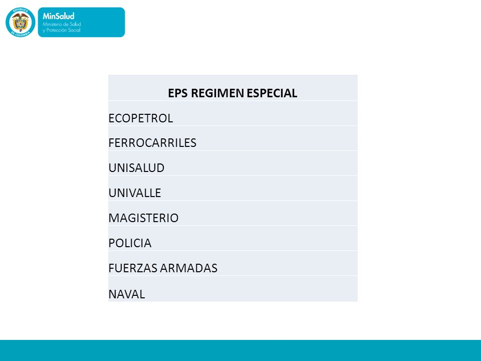 EPS REGIMEN ESPECIAL ECOPETROL FERROCARRILES UNISALUD UNIVALLE MAGISTERIO POLICIA FUERZAS ARMADAS NAVAL