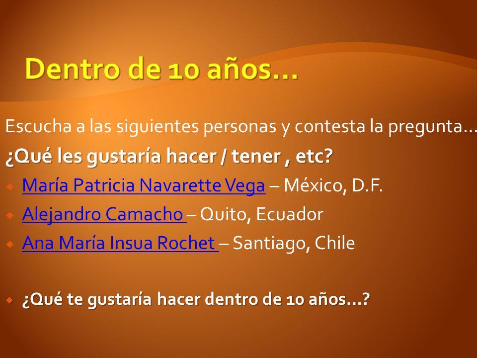 Escucha a las siguientes personas y contesta la pregunta… ¿Qué les gustaría hacer / tener, etc? María Patricia Navarette Vega – México, D.F. María Pat