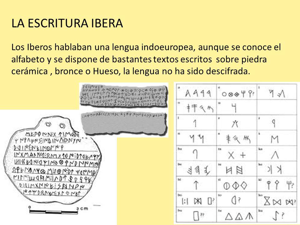 LA ESCRITURA IBERA Los Iberos hablaban una lengua indoeuropea, aunque se conoce el alfabeto y se dispone de bastantes textos escritos sobre piedra cer