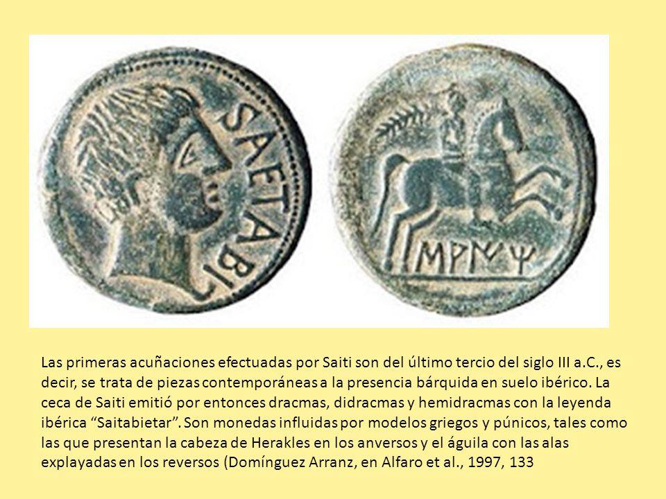 Las primeras acuñaciones efectuadas por Saiti son del último tercio del siglo III a.C., es decir, se trata de piezas contemporáneas a la presencia bár