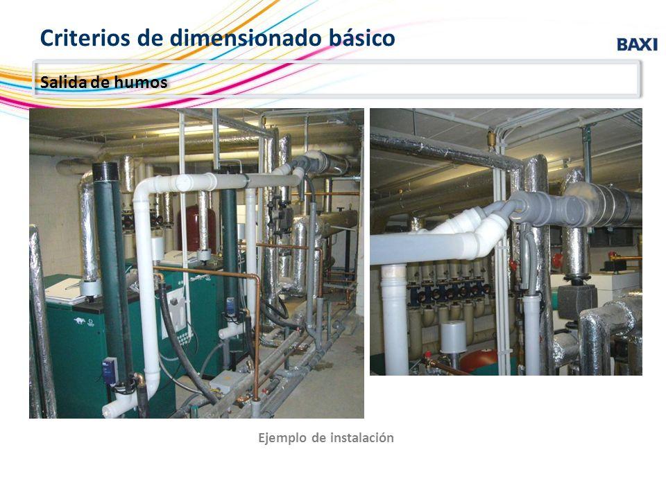 Ejemplo de instalación Salida de humos Criterios de dimensionado básico