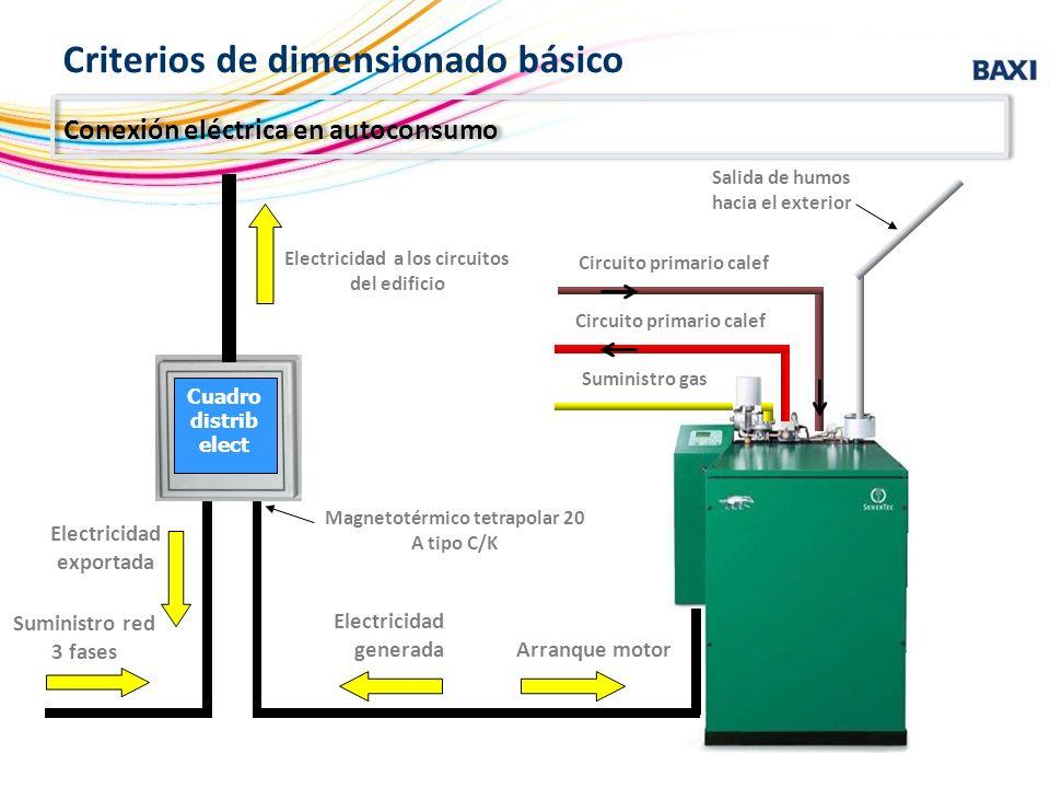 Circuito primario calef Suministro gas Salida de humos hacia el exterior Suministro red 3 fases Electricidad exportada Electricidad a los circuitos de