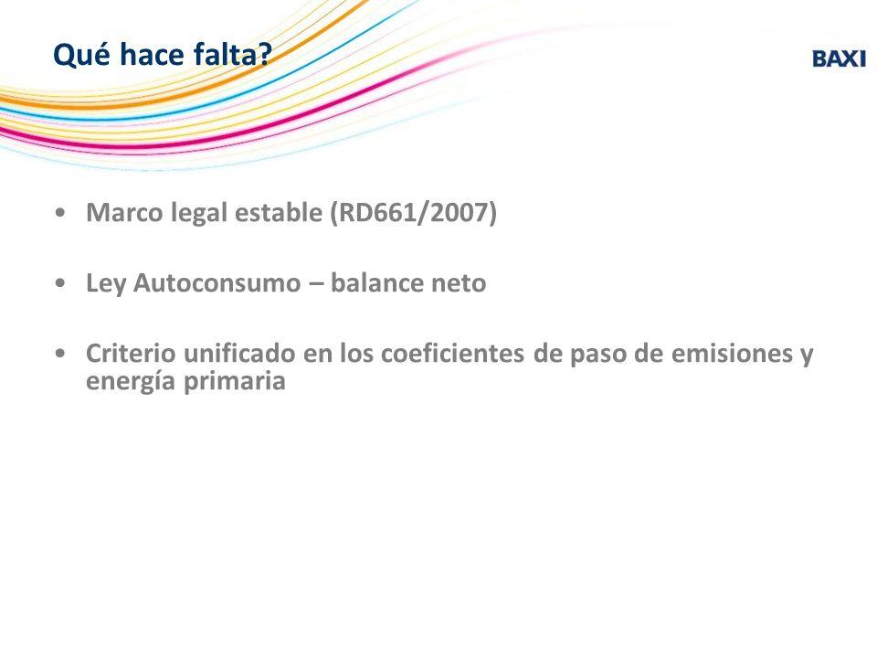 Qué hace falta? Marco legal estable (RD661/2007) Ley Autoconsumo – balance neto Criterio unificado en los coeficientes de paso de emisiones y energía