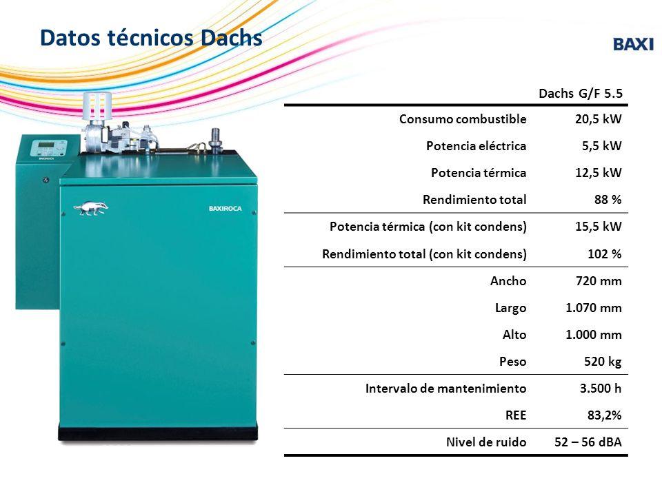 Consumo combustible20,5 kW Potencia eléctrica5,5 kW Potencia térmica12,5 kW Rendimiento total88 % Potencia térmica (con kit condens)15,5 kW Rendimient