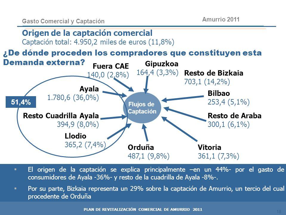 18 Origen de la captación comercial Captación total: 4.950,2 miles de euros (11,8%) Gasto Comercial y Captación Orduña 487,1 (9,8%) Resto de Bizkaia 7