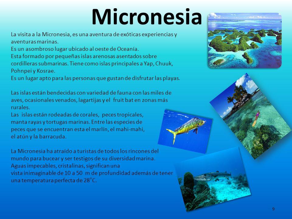 9 La visita a la Micronesia, es una aventura de exóticas experiencias y aventuras marinas. Es un asombroso lugar ubicado al oeste de Oceanía. Esta for