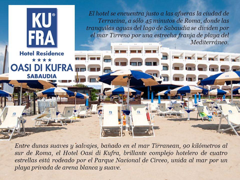El hotel se encuentra justo a las afueras la ciudad de Terracina, a sólo 45 minutos de Roma, donde las tranquilas aguas del lago de Sabaudia se dividen por el mar Tirreno por una estrecha franja de playa del Mediterráneo.