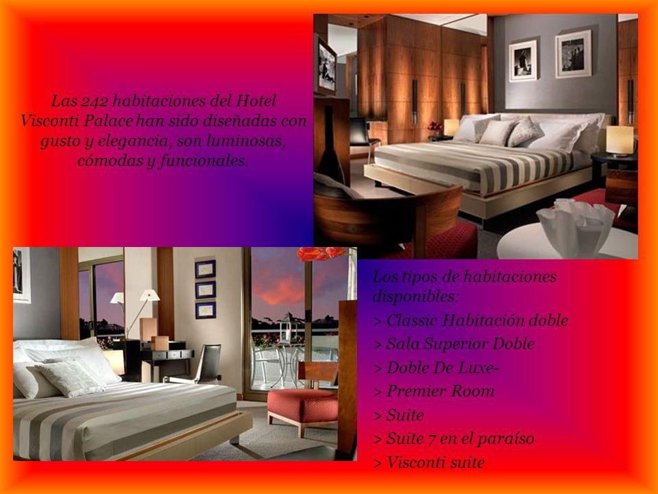Las 242 habitaciones del Hotel Visconti Palace han sido diseñadas con gusto y elegancia, son luminosas, cómodas y funcionales.