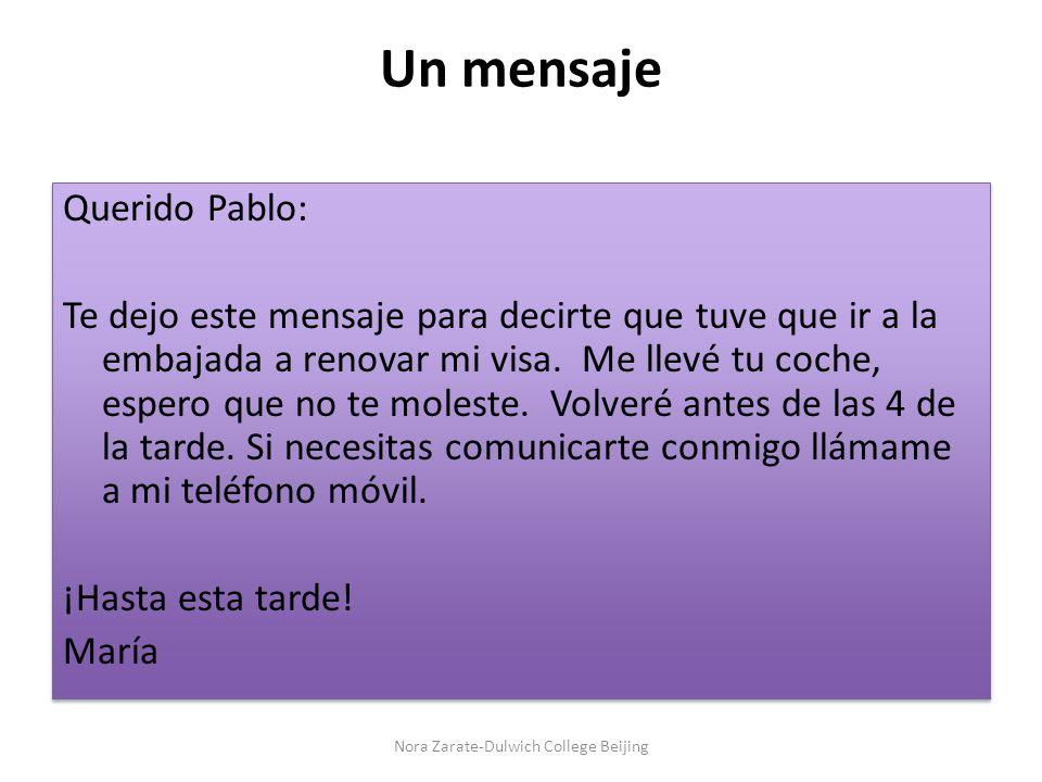 Un mensaje Querido Pablo: Te dejo este mensaje para decirte que tuve que ir a la embajada a renovar mi visa.