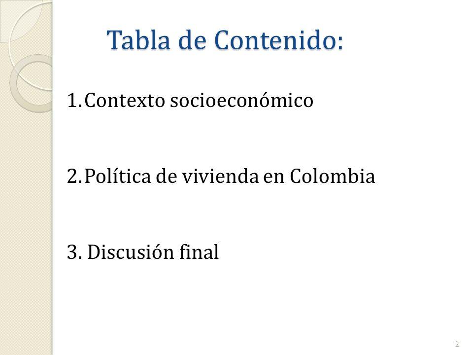 Tabla de Contenido: 1.Contexto socioeconómico 2.Política de vivienda en Colombia 3.Discusión final 2