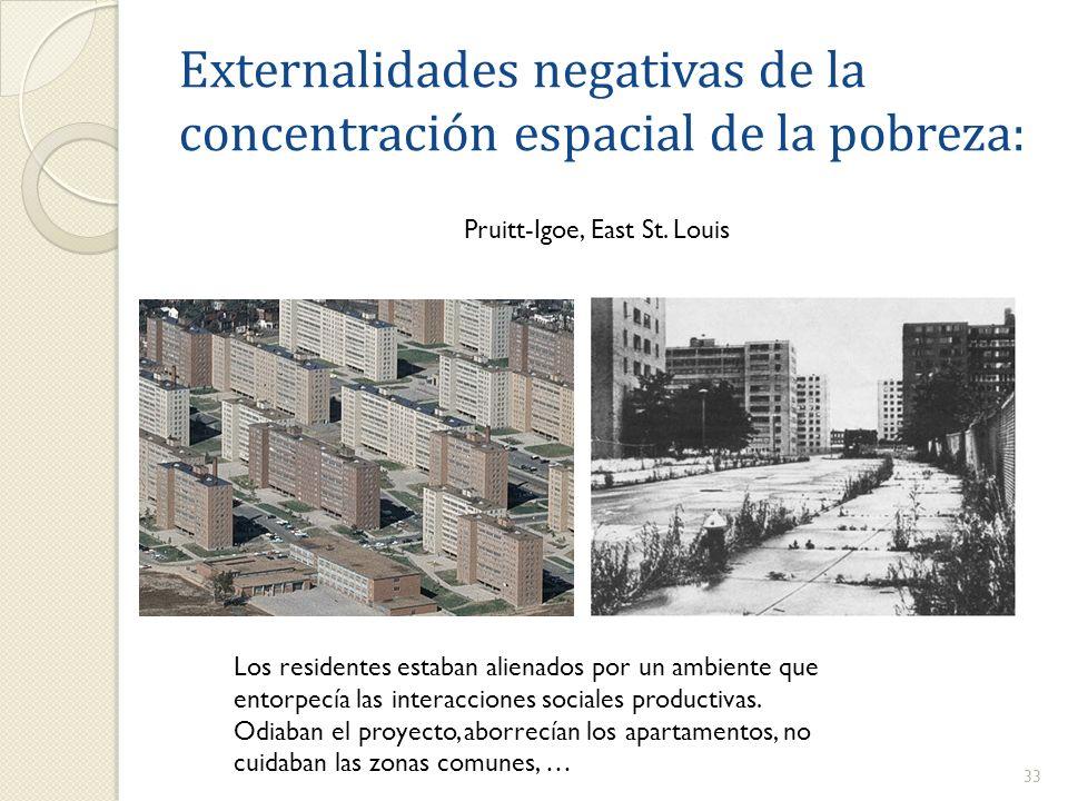 Externalidades negativas de la concentración espacial de la pobreza: 33 Pruitt-Igoe, East St. Louis Los residentes estaban alienados por un ambiente q