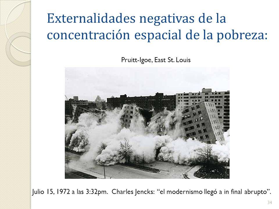 Externalidades negativas de la concentración espacial de la pobreza: 34 Pruitt-Igoe, East St. Louis Julio 15, 1972 a las 3:32pm. Charles Jencks: el mo