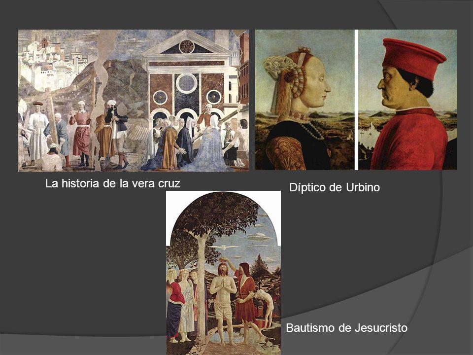 La historia de la vera cruz Díptico de Urbino Bautismo de Jesucristo