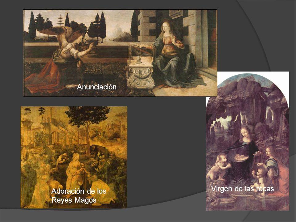 Anunciación Virgen de las rocas Adoración de los Reyes Magos