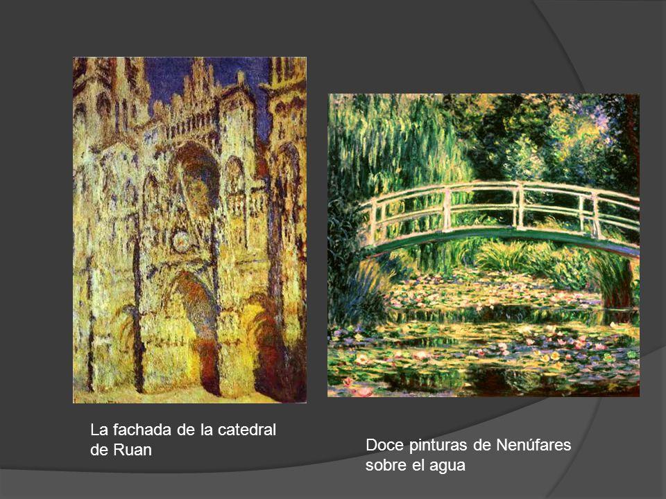 La fachada de la catedral de Ruan Doce pinturas de Nenúfares sobre el agua