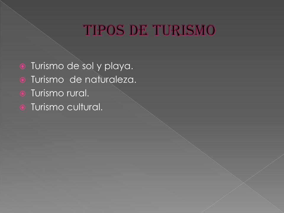 Turismo de sol y playa. Turismo de naturaleza. Turismo rural. Turismo cultural.