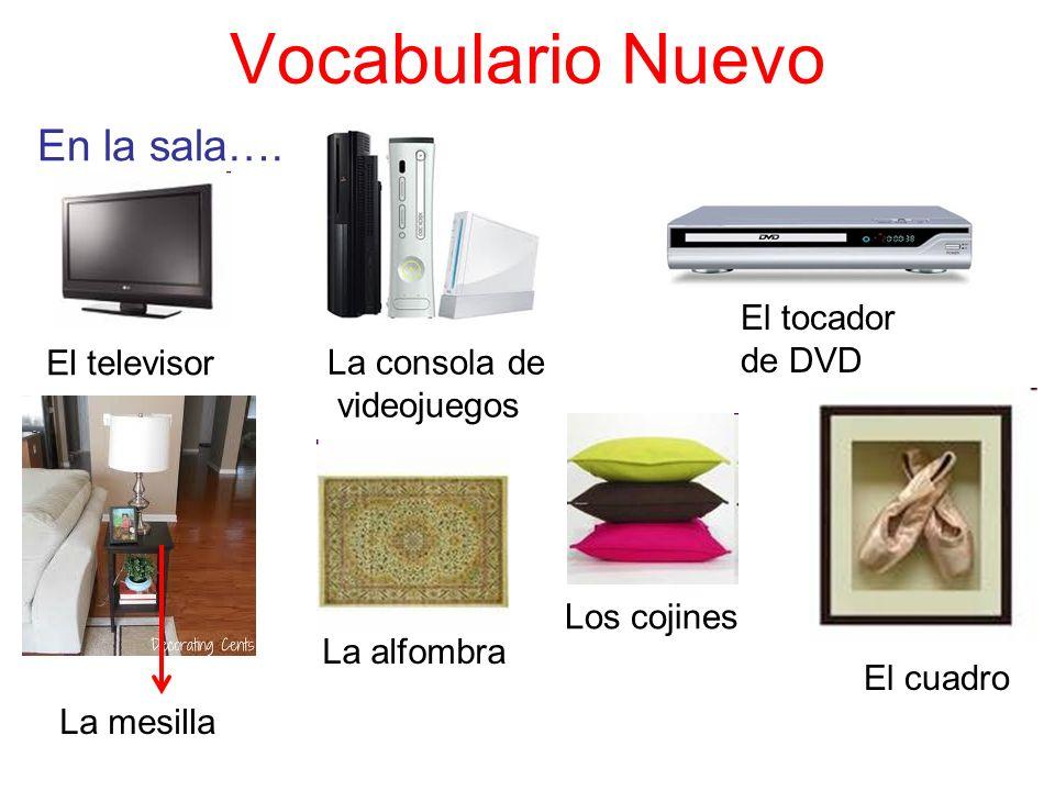 Vocabulario Nuevo En la sala…. La consola de videojuegos El televisor El tocador de DVD El cuadro La mesilla La alfombra Los cojines