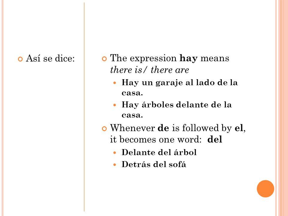 Así se dice: The expression hay means there is/ there are Hay un garaje al lado de la casa. Hay árboles delante de la casa. Whenever de is followed by