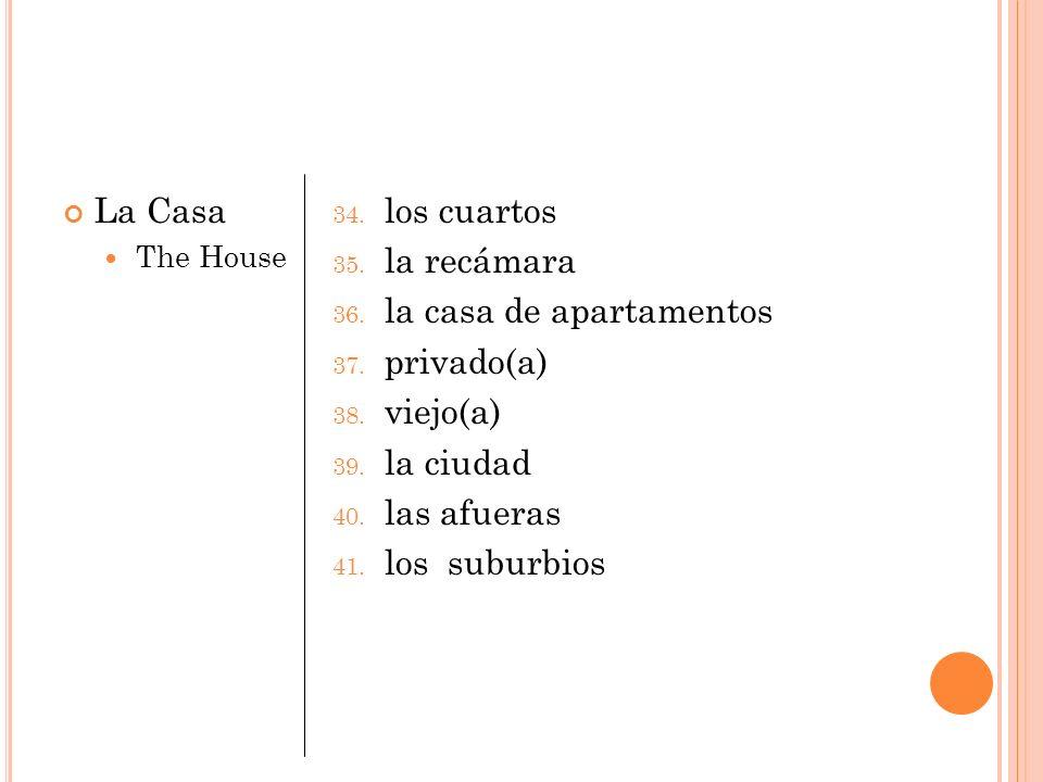La Casa The House 34. los cuartos 35. la recámara 36. la casa de apartamentos 37. privado(a) 38. viejo(a) 39. la ciudad 40. las afueras 41. los suburb