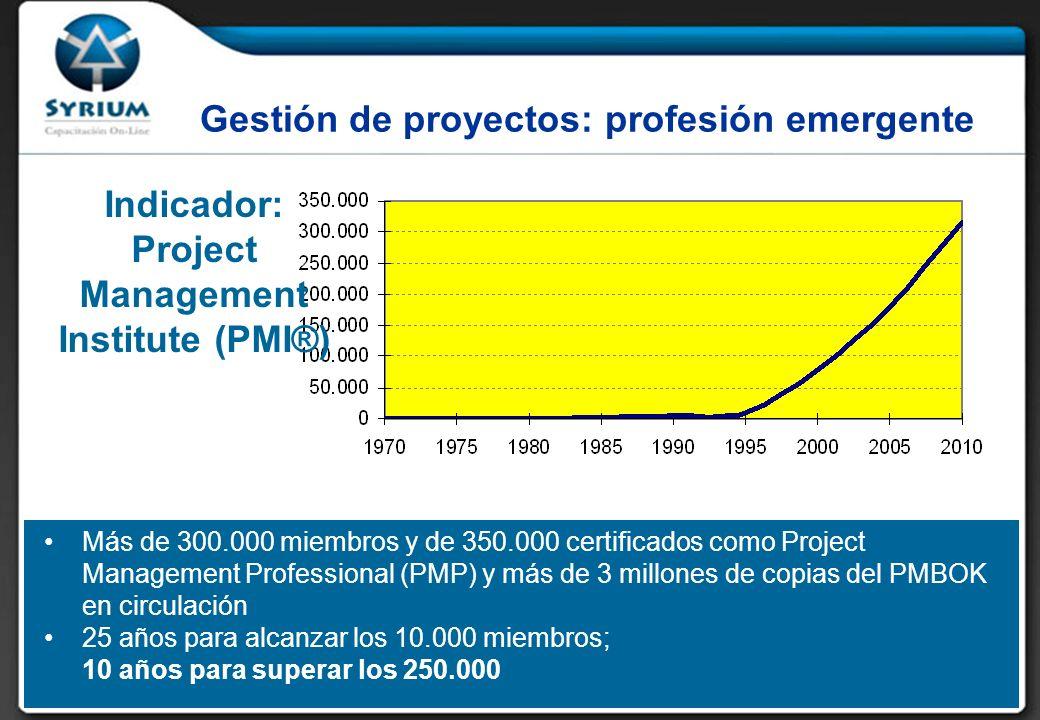 Gestión de proyectos: profesión emergente Más de 300.000 miembros y de 350.000 certificados como Project Management Professional (PMP) y más de 3 millones de copias del PMBOK en circulación 25 años para alcanzar los 10.000 miembros; 10 años para superar los 250.000 Indicador: Project Management Institute (PMI®)