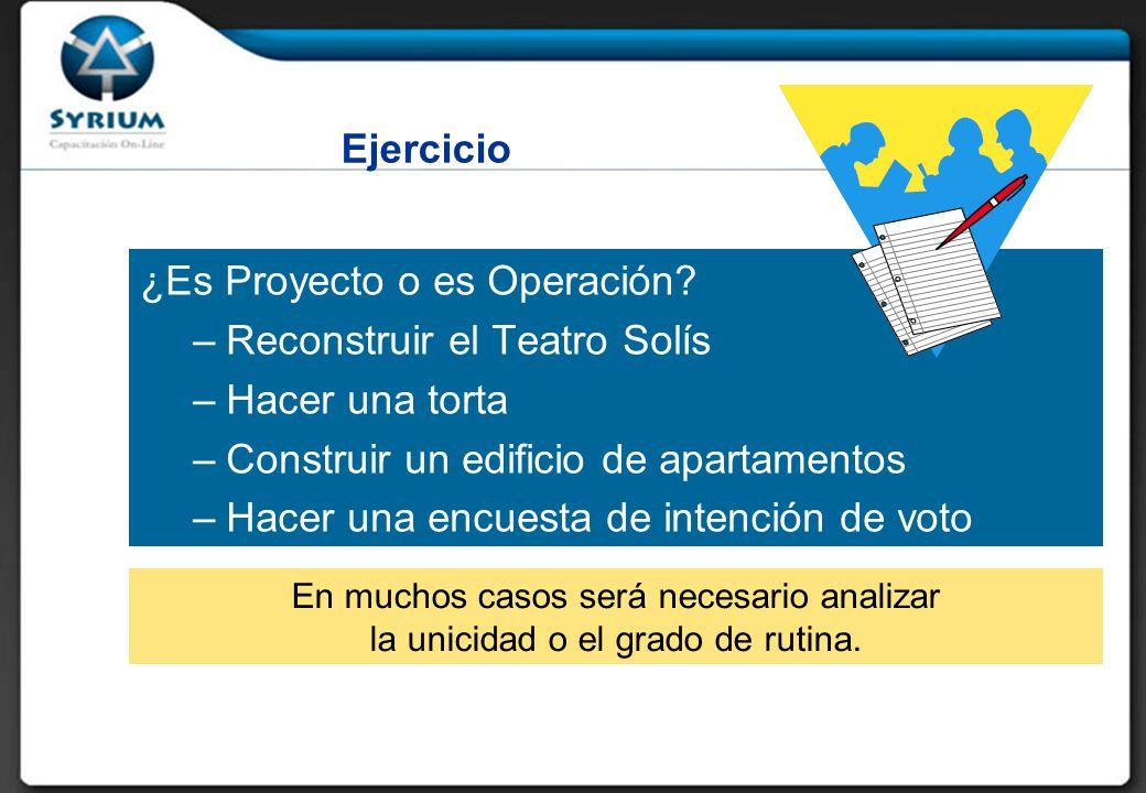 ¿Es Proyecto o es Operación.