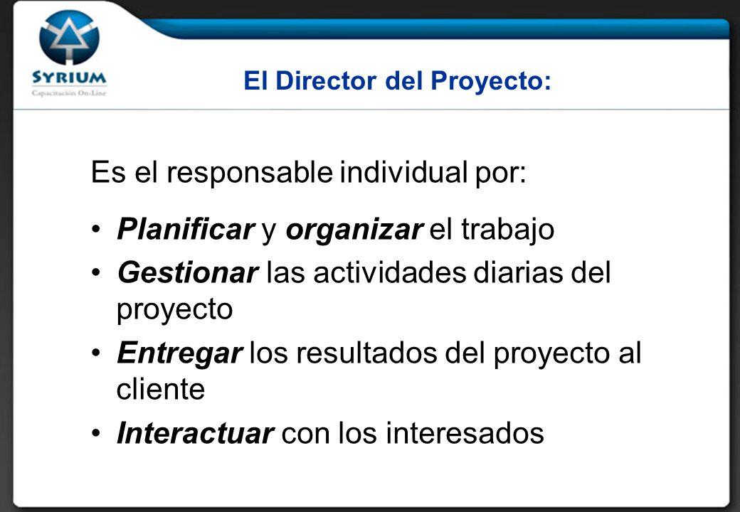 El Director del Proyecto: Es el responsable individual por: Planificar y organizar el trabajo Gestionar las actividades diarias del proyecto Entregar los resultados del proyecto al cliente Interactuar con los interesados