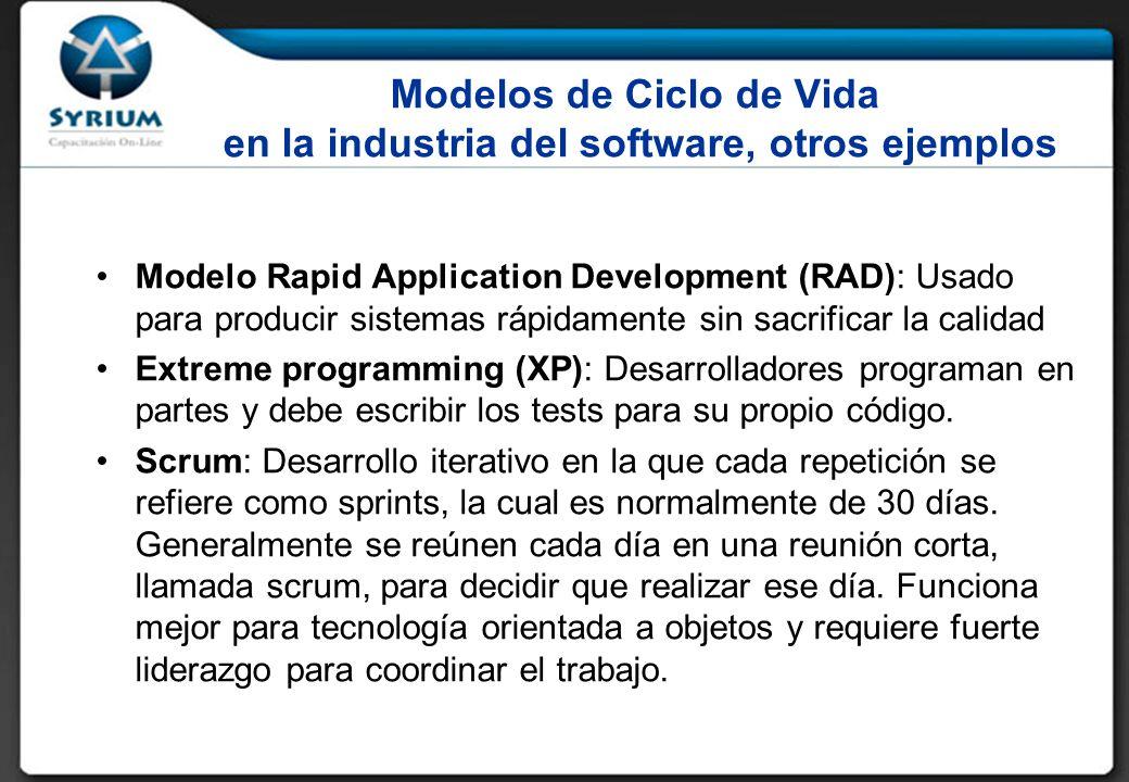 Modelos de Ciclo de Vida en la industria del software, otros ejemplos Modelo Rapid Application Development (RAD): Usado para producir sistemas rápidamente sin sacrificar la calidad Extreme programming (XP): Desarrolladores programan en partes y debe escribir los tests para su propio código.