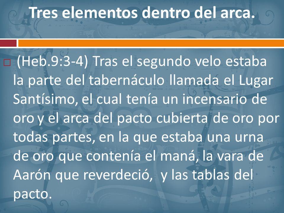 Tres elementos dentro del arca. (Heb.9:3-4) Tras el segundo velo estaba la parte del tabernáculo llamada el Lugar Santísimo, el cual tenía un incensar