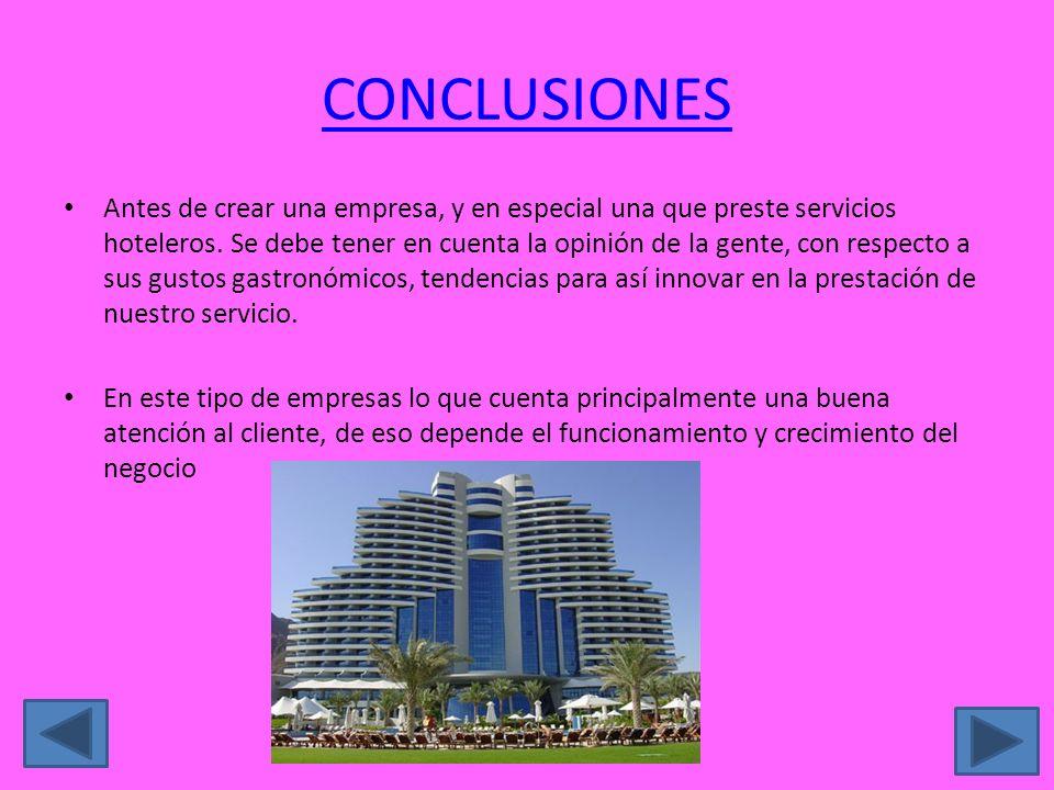 CONCLUSIONES Antes de crear una empresa, y en especial una que preste servicios hoteleros. Se debe tener en cuenta la opinión de la gente, con respect