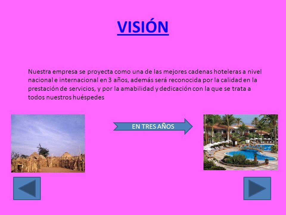 VISIÓN Nuestra empresa se proyecta como una de las mejores cadenas hoteleras a nivel nacional e internacional en 3 años, además será reconocida por la