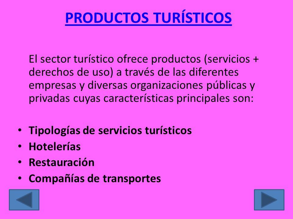 PRODUCTOS TURÍSTICOS El sector turístico ofrece productos (servicios + derechos de uso) a través de las diferentes empresas y diversas organizaciones