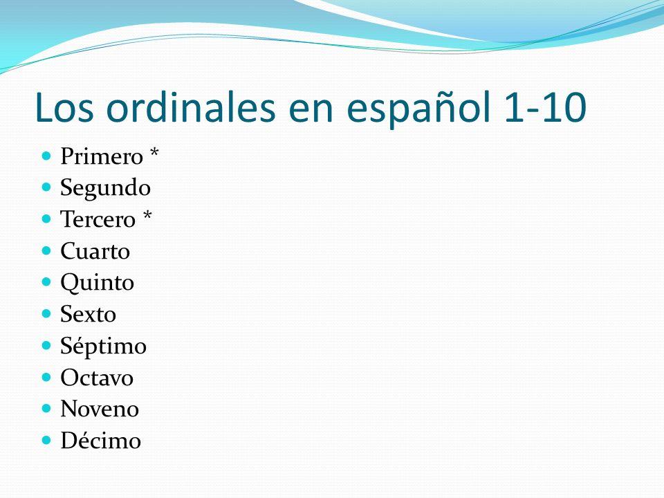 Los ordinales en español 1-10 Primero * Segundo Tercero * Cuarto Quinto Sexto Séptimo Octavo Noveno Décimo