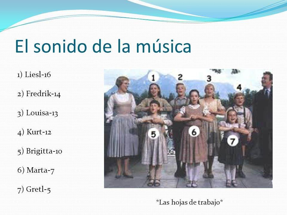 El sonido de la música 1) Liesl-16 2) Fredrik-14 3) Louisa-13 4) Kurt-12 5) Brigitta-10 6) Marta-7 7) Gretl-5 *Las hojas de trabajo*
