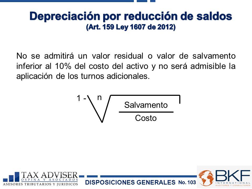 No se admitirá un valor residual o valor de salvamento inferior al 10% del costo del activo y no será admisible la aplicación de los turnos adicionale